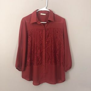 Nearly new—dark red blouse with lace overlay